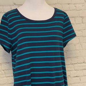Faded Glory Dresses - Navy Blue with Teal Stripe Jersey Dress